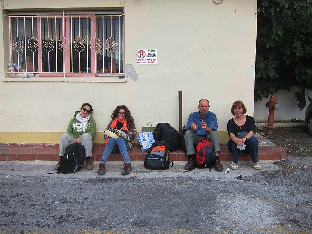 Waiting for the bus after a day working in Andros Archaeological Museum are, from left: Alba Mazza, Maria Karagiannopoulou, Bob Miller and Irma Havlicek. Alba had been helping with artefact conservation and Maria had been cleaning finds. Bob was photographing artefacts, and I was interviewing Bob for this blog post
