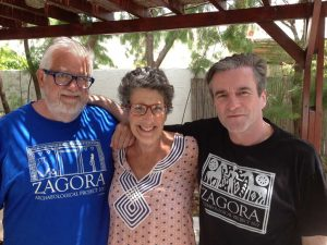 Malcolm (Mac) and Carol Ostermeyer with archaeologist Paul Donnelly at Batsi, on Andros, in July 2015